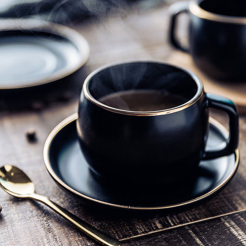 Porcelain Coffee Cup Set (+ Saucer and Stainless Steel Spoon)
