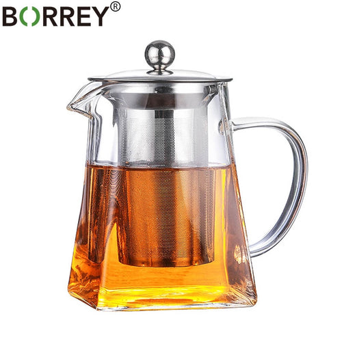 Square Glass Teapot (+ Tea Infuser Filter)