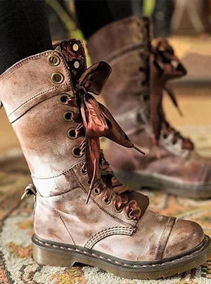 Lace up print round toe ankle boots