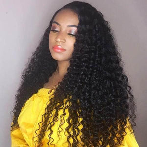Ishow Hair Brazilian Deep Curly Wave Remy Human Hair Lace Front Wigs