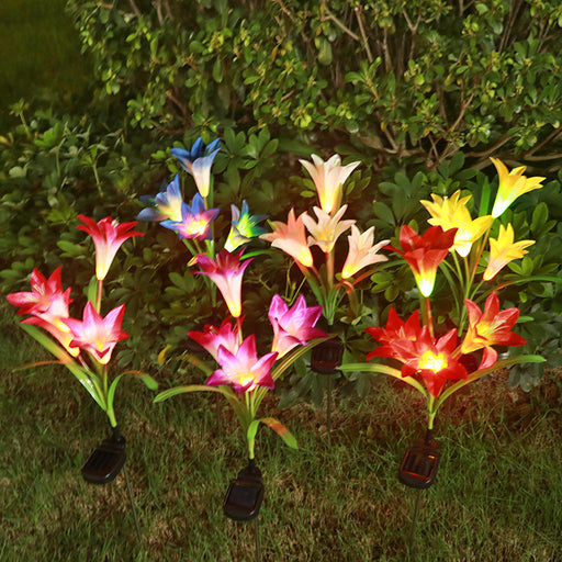 1pc solar lights 4 heads solar lantern LED decorative outdoor lawn lamp 4 flower lily garden lamp Home Garden Decoration