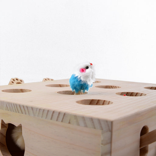 Hot Solid Wooden Cat Toy Puzzle Interactive Toys Whack A Mole Shape Hamster Funny Wooden Box For Playing Cat Supplies