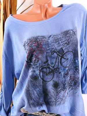Printed  Tie Sleeve  Long  Sleeve T-Shirt