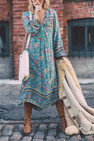 Bohemia Long-Sleeved Tassel Printing Vacation Dress
