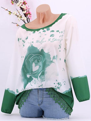 Round Neck Rose Print Lace Side Long Sleeve T-Shirt