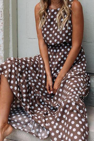 Casual Polka Dot Sleeveless Round Neck Maxi Dresses