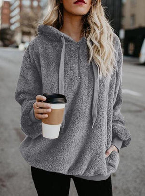 Long Sleeve Shift Fluffy Hoodies