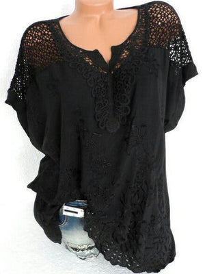 Solid Color Lace Hollow V-Neck T-Shirt