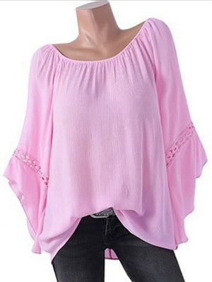 Large Size Loose Solid Chiffon T-shirts
