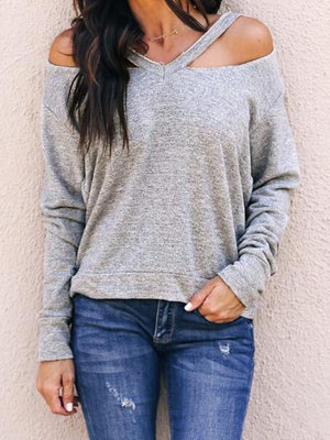 Sexy V-neck off-shoulder long-sleeve T-shirt