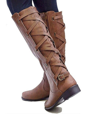 Lace-up round toe low-heeled PU leather boots