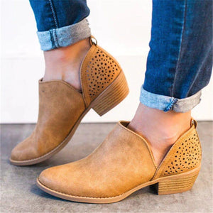 Slip-on pointed toe plain casual vintage boots