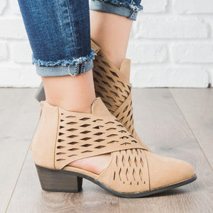 Casual PU zipper low heel ankle boots