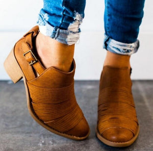 Spring Autumn Square Heel Ankle Boots