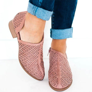 Low Heel Slip-On Ankle Boots Casual  Cutout Booties