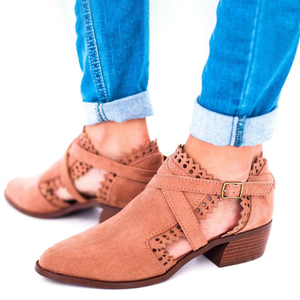 Audrey Scalloped Booties Low Heel Hollow-out Buckle Strap Boots