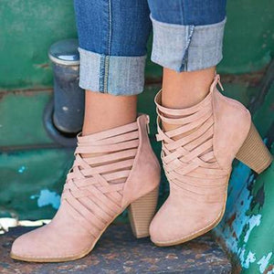 Chunky heel suede criss cross straps ankle boots