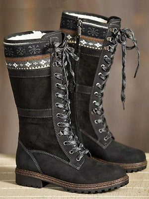 Element Lace Up Low Heel Warm Boots