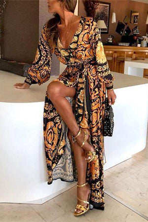 Fashion Long Sleeve V-Neck Print Maxi Dress
