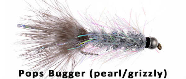 Black Bead Pops Bugger (Pearl/Grizzly) #8 - Flytackle NZ
