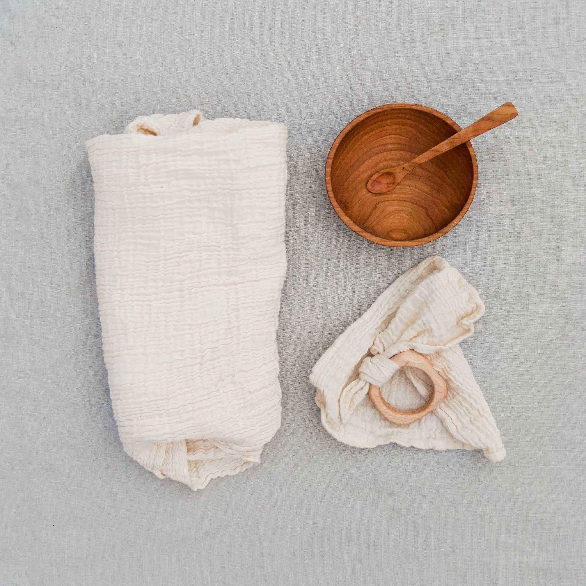 bowl set + teether + swaddle bundle