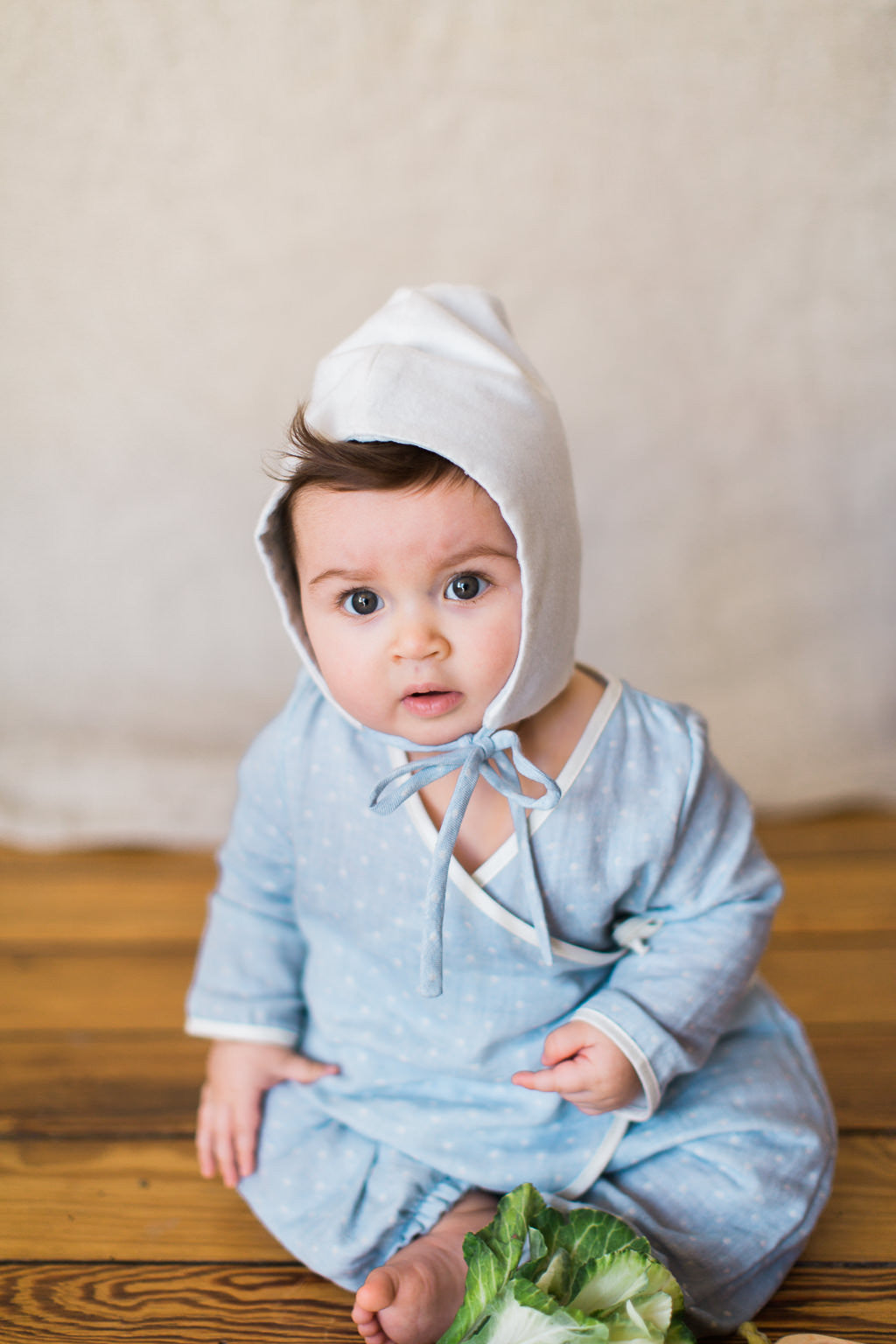softest flannel bonnet / baby blue
