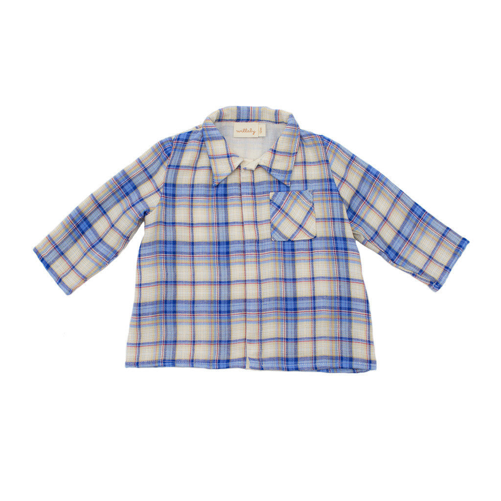 gauze snap shirt / true blue