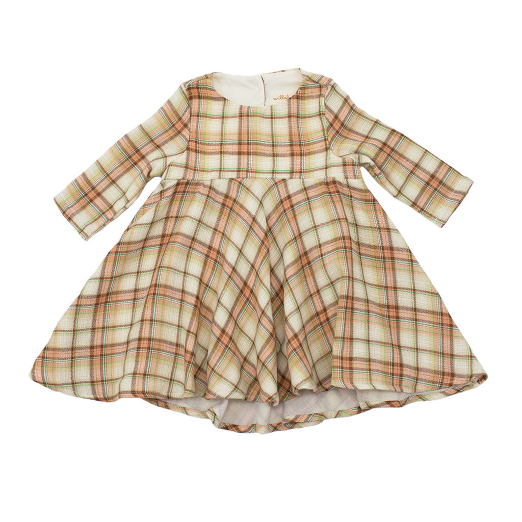 plaid gauze dress  / caramel