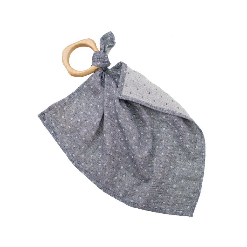 dotted teether blankie / chambray blue