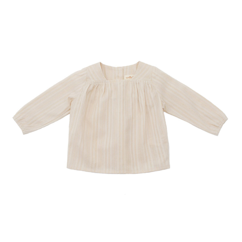 gathered blouse / gold + ivory stripe