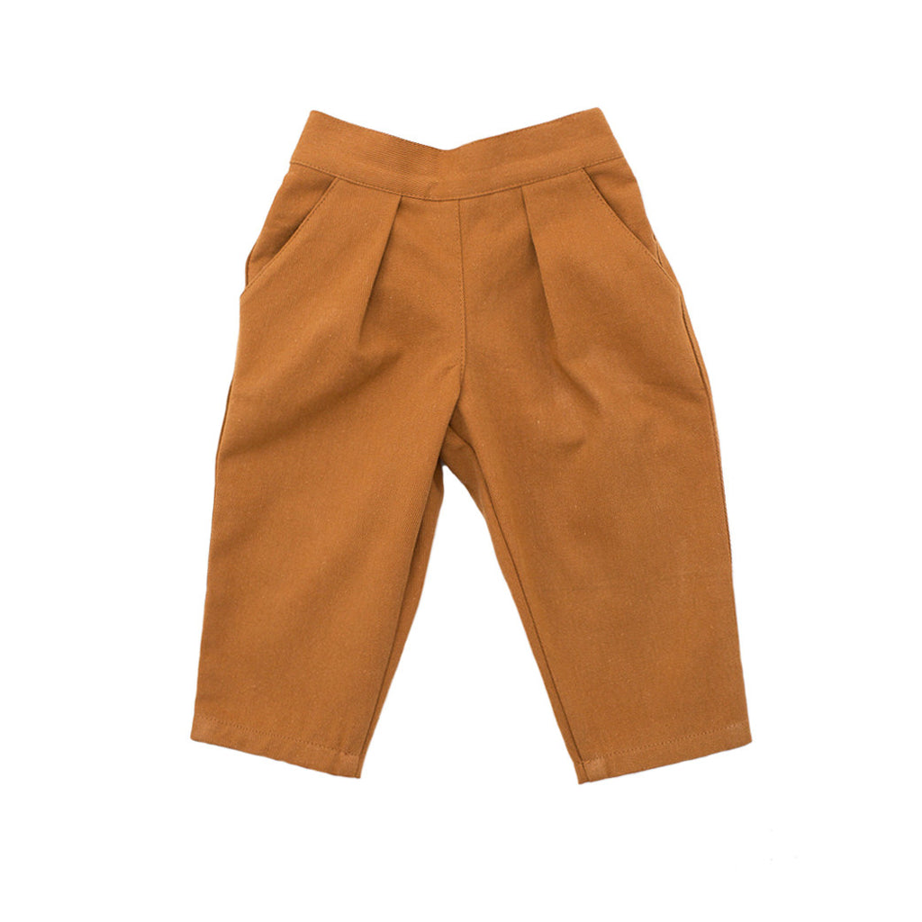 pleated trousers / pumpkin twill