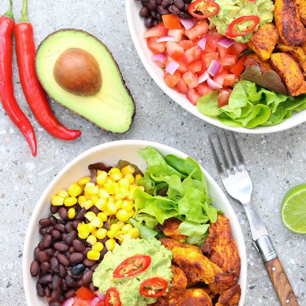 Chicken Burrito Bowl with Avocado, Chilli, Lime and Fork