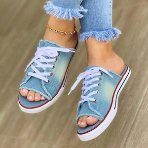 Women's Denim Lace-up Open Toe Slip On Flat Heel Slippers