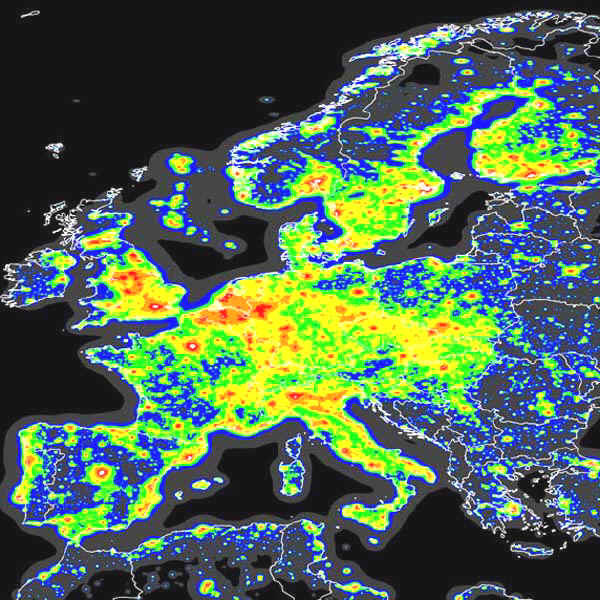 Light pollution across Europe