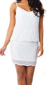 Laundry Chiffon Beaded Popover Dress - white