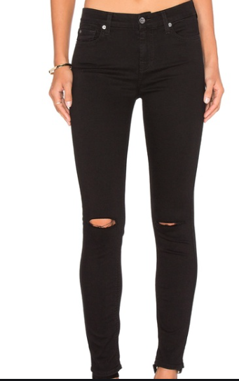 7 For All Mankind Ankle Skinny Jean - black