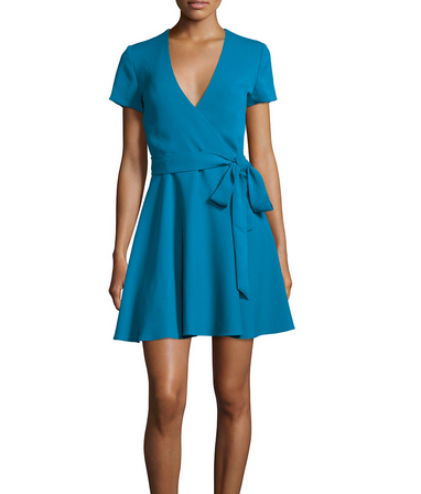 Alice & Olivia Short Sleeve Mock Wrap Dress - blue