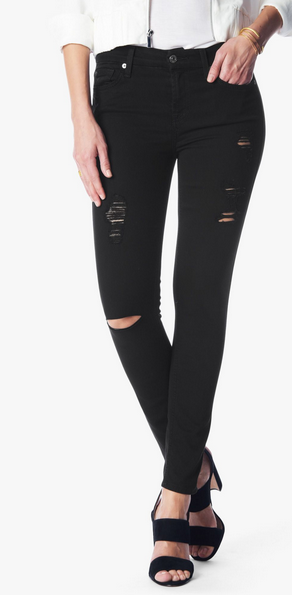 7 For All Mankind Ankle Skinny - black distressed