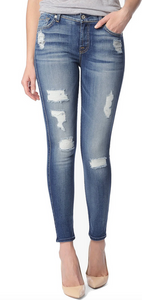 7 For All Mankind Ankle Skinny Mid Rise - distressed