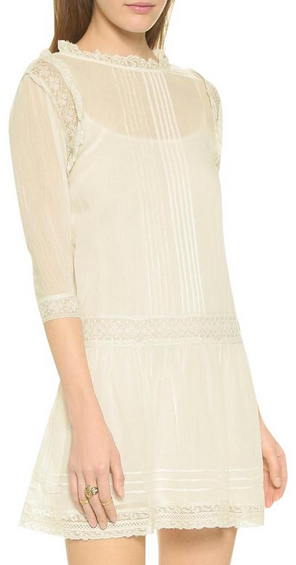 Cynthia Vincent Antique Lace Dropwaist Dress - cream