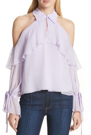 Alice & Olivia Blayne Cold Shoulder top - lilac