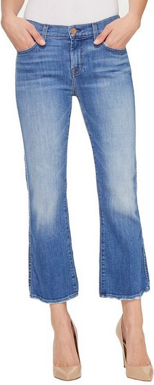 7 For All Mankind Crop Bootcut with Grind Hem Jean - denim