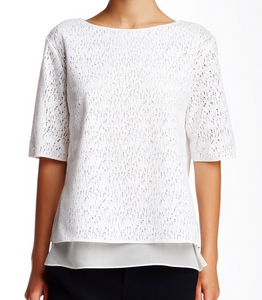 Vince Elbow SLeeve Lace Top - white