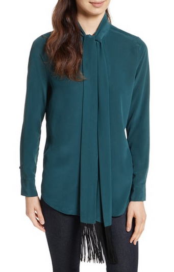 Equipment Essential Tie Neck Blouse - eden green