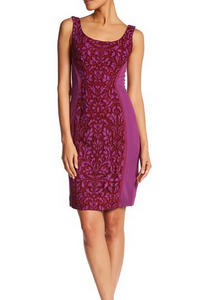 DVF Geovanna Lace Dress - purple/red
