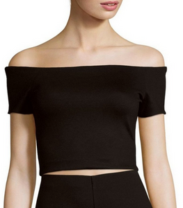 Alice & Olivia Gracelyn Off Shoulder Crop Top - black