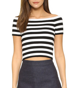 Alice & Olivia Grant Off Shoulder Top - black/white