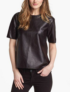 Vince High Low Leather Tee - black