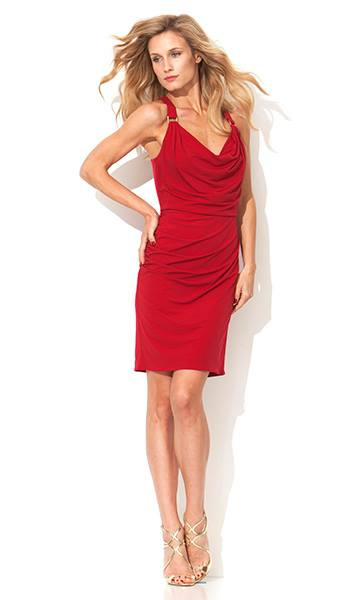 Laundry Harness Cowl Dress - red