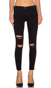Current/Elliott The Stiletto Jean - jet black destroy